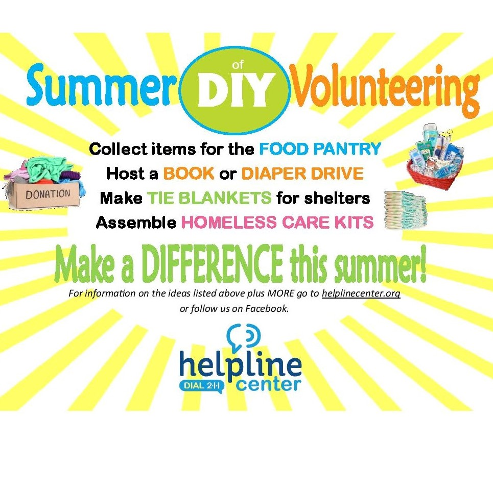 Volunteer connections summer of diy 2018 helpline center helpline center volunteer connections is excited to launch the summer of diy do it yourself each week throughout the summer of 2018 helpline center solutioingenieria Choice Image